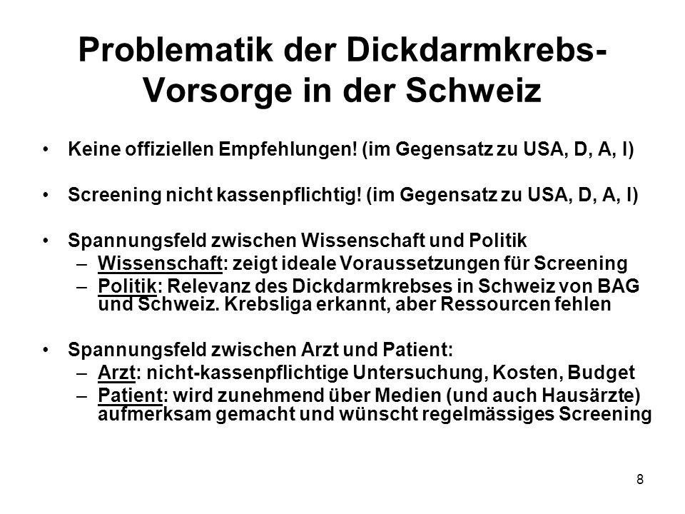 Problematik der Dickdarmkrebs-Vorsorge in der Schweiz