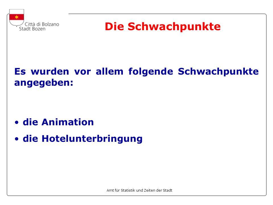 Die Schwachpunkte Es wurden vor allem folgende Schwachpunkte angegeben: die Animation.