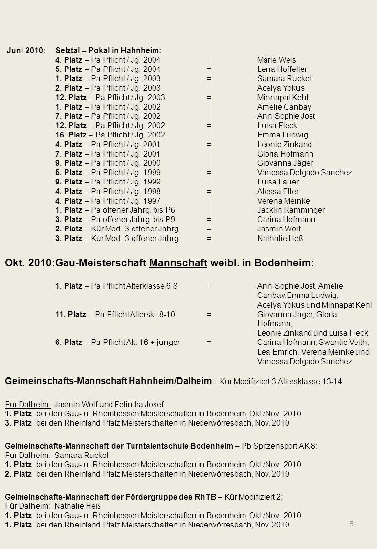 Okt. 2010: Gau-Meisterschaft Mannschaft weibl. in Bodenheim: