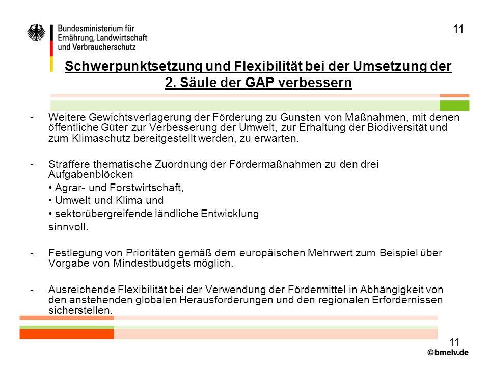 11 Schwerpunktsetzung und Flexibilität bei der Umsetzung der 2. Säule der GAP verbessern.