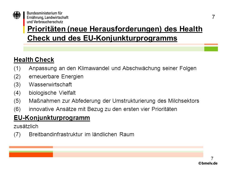 7 Prioritäten (neue Herausforderungen) des Health Check und des EU-Konjunkturprogramms. Health Check.