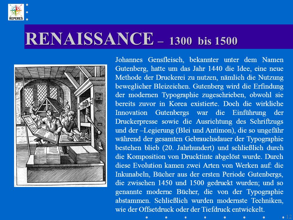 RENAISSANCE – 1300 bis 1500