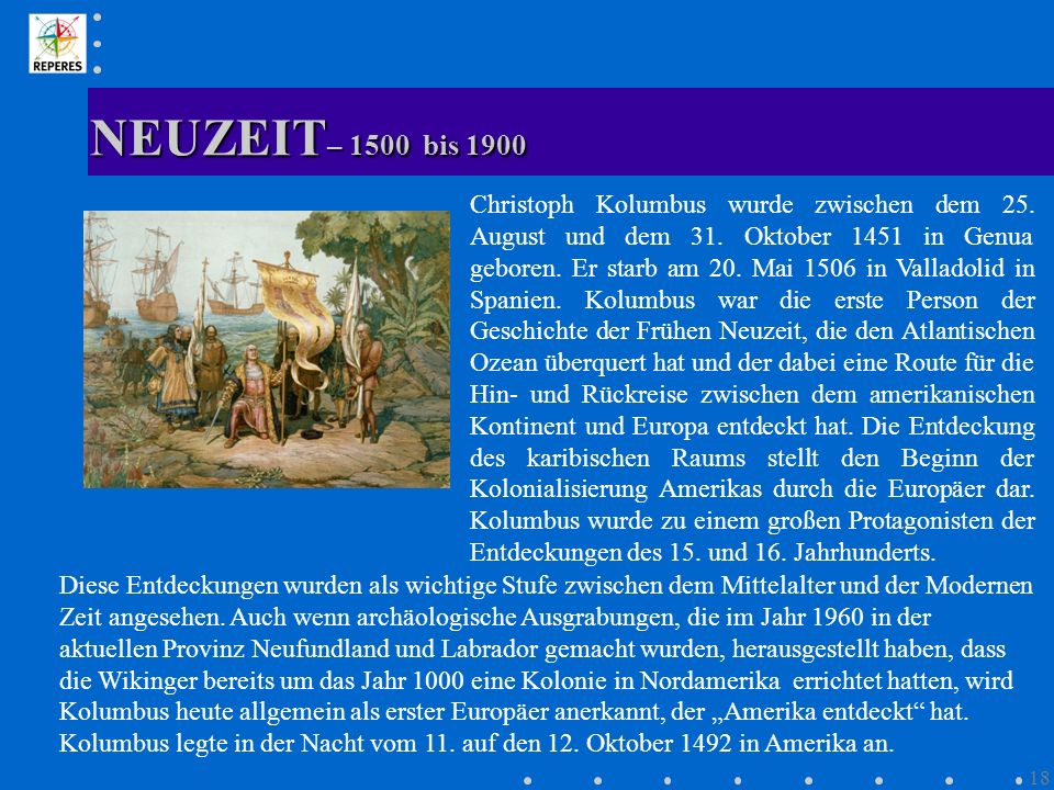 NEUZEIT– 1500 bis 1900
