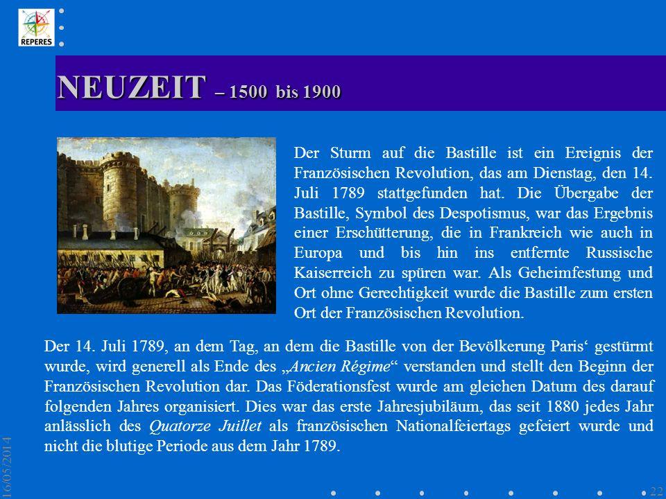 NEUZEIT – 1500 bis 1900