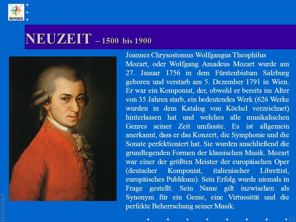 NEUZEIT – 1500 bis 1900 Joannes Chrysostomus Wolfgangus Theophilus