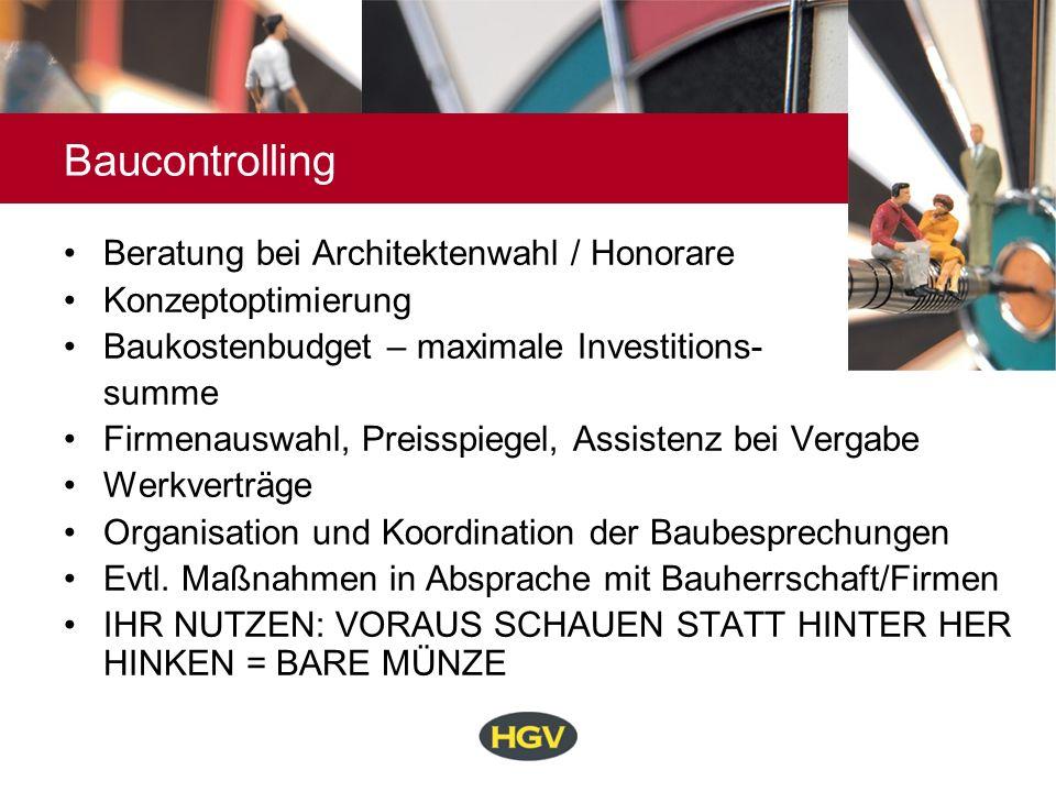 Baucontrolling Beratung bei Architektenwahl / Honorare
