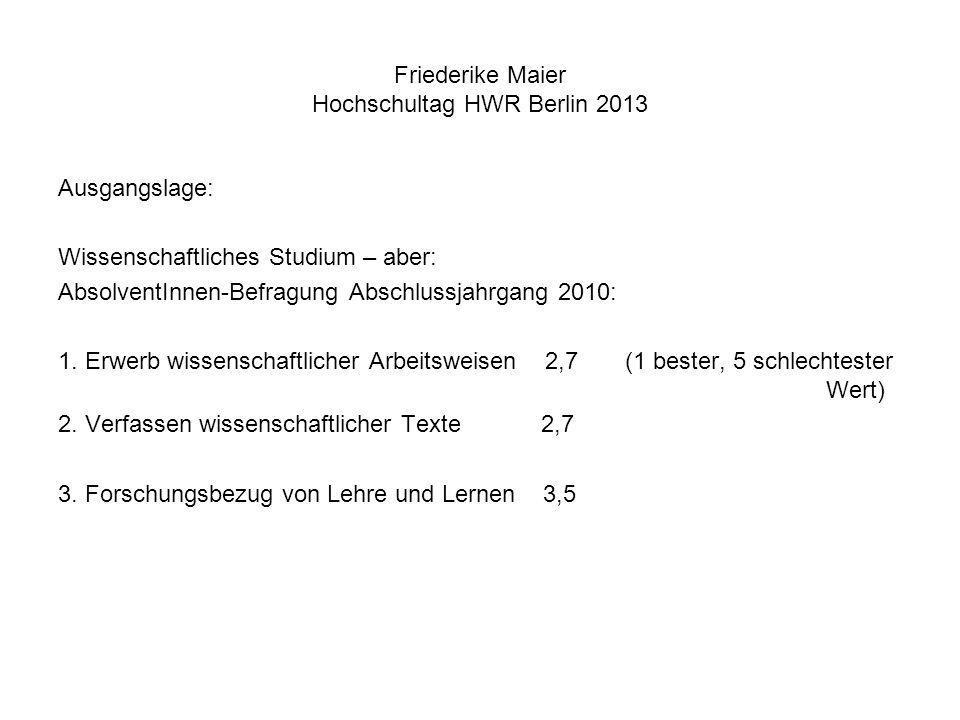 Friederike Maier Hochschultag HWR Berlin 2013