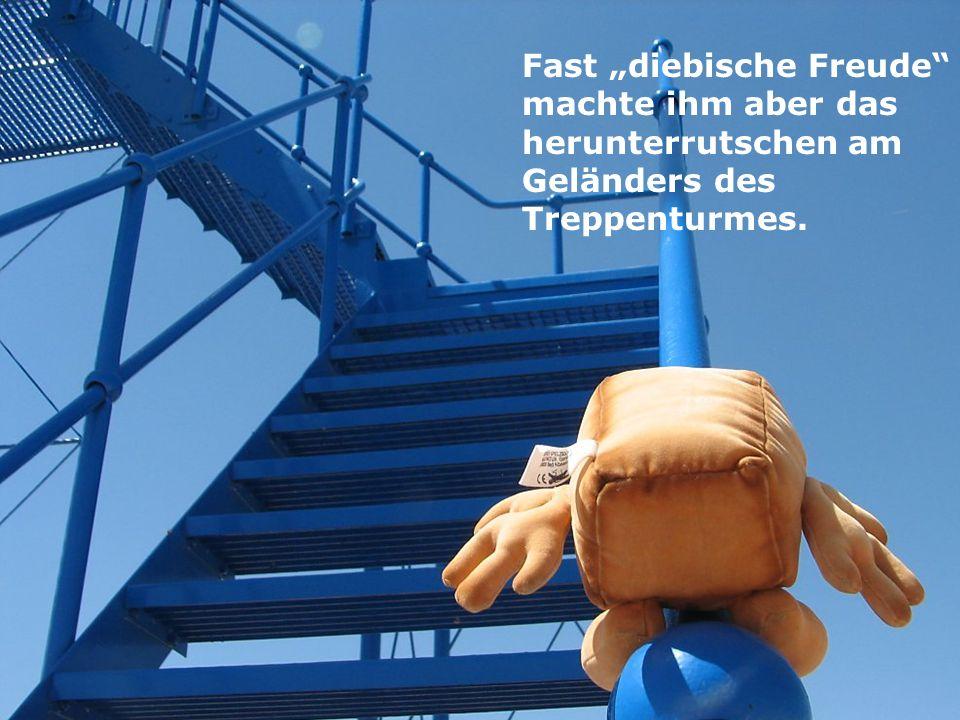 """Fast """"diebische Freude machte ihm aber das herunterrutschen am Geländers des Treppenturmes."""