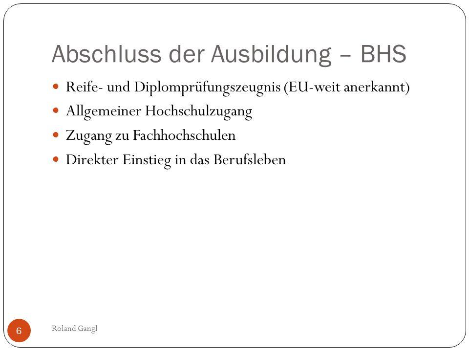 Abschluss der Ausbildung – BHS