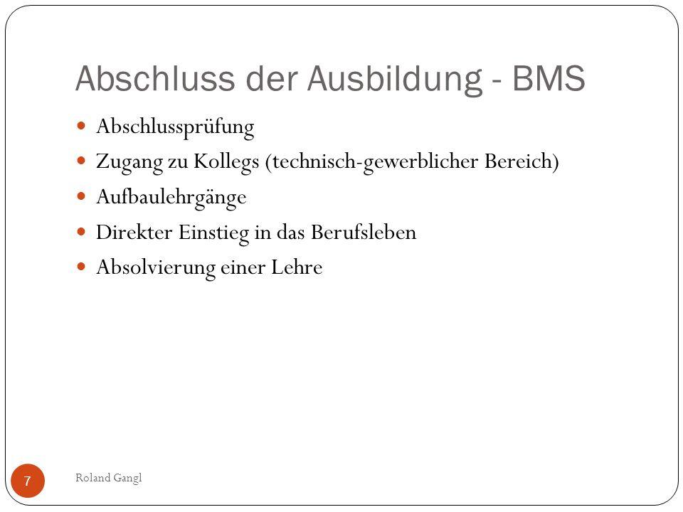 Abschluss der Ausbildung - BMS