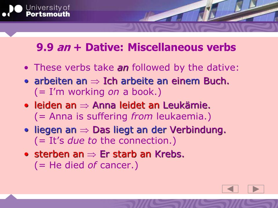 9.9 an + Dative: Miscellaneous verbs