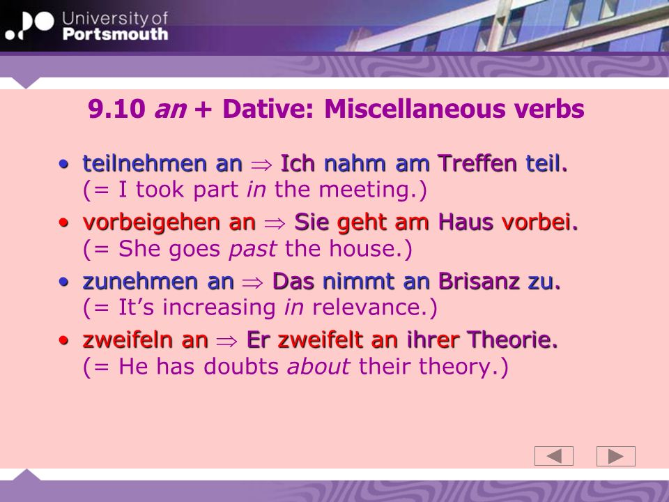 9.10 an + Dative: Miscellaneous verbs