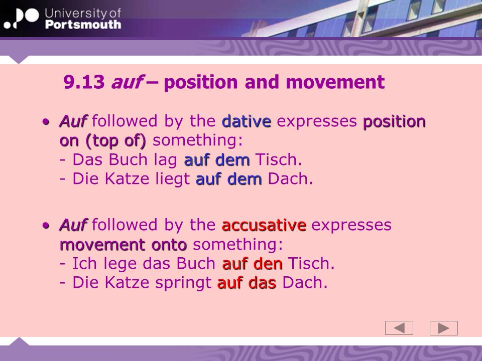 9.13 auf – position and movement