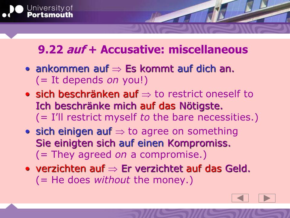 9.22 auf + Accusative: miscellaneous