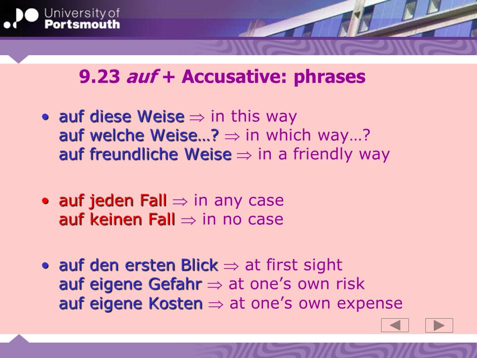 9.23 auf + Accusative: phrases