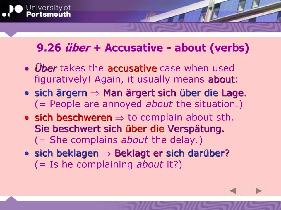 9.26 über + Accusative - about (verbs)