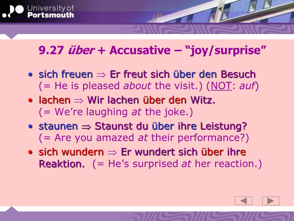 9.27 über + Accusative – joy/surprise