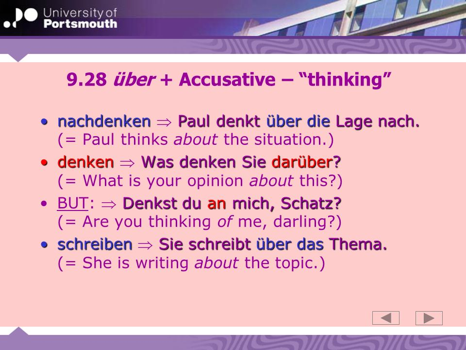 9.28 über + Accusative – thinking