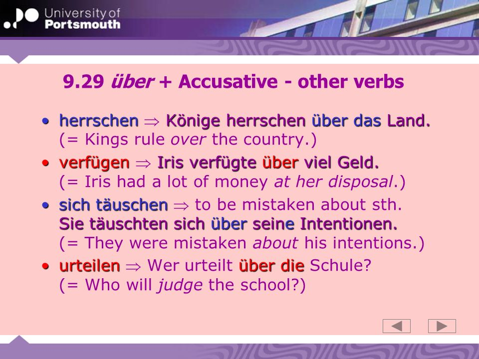 9.29 über + Accusative - other verbs