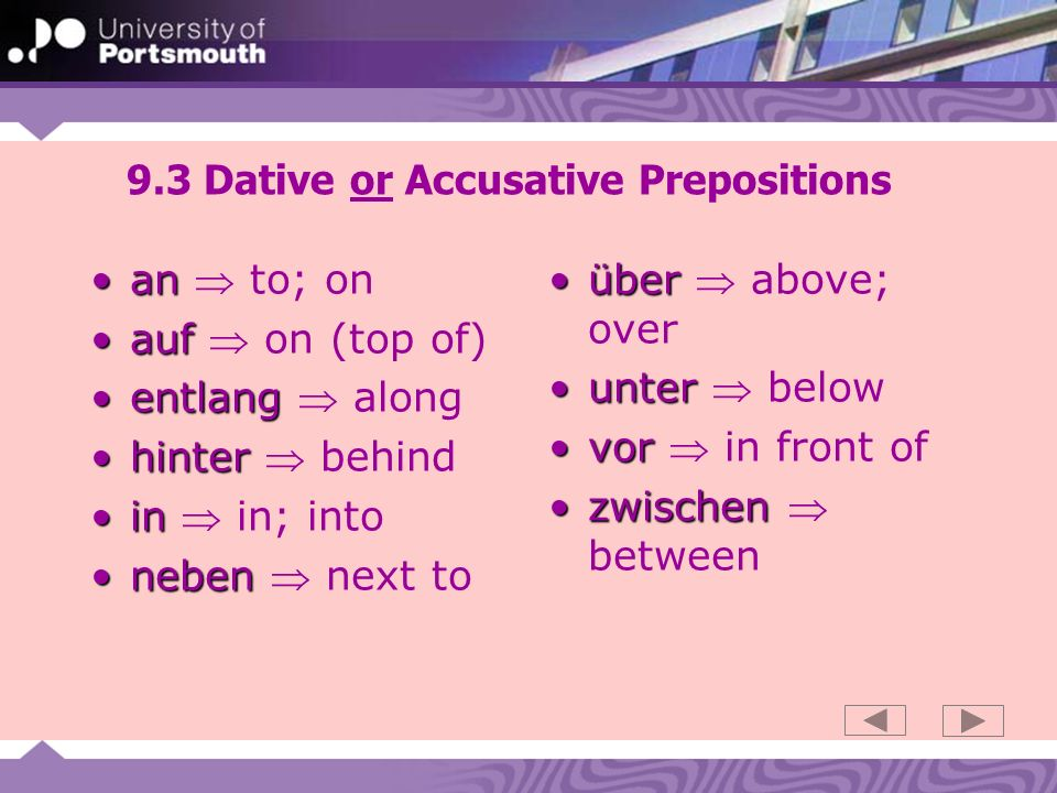 9.3 Dative or Accusative Prepositions