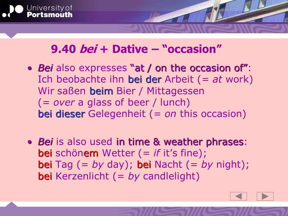 9.40 bei + Dative – occasion