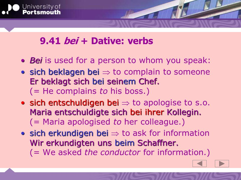 9.41 bei + Dative: verbs Bei is used for a person to whom you speak: