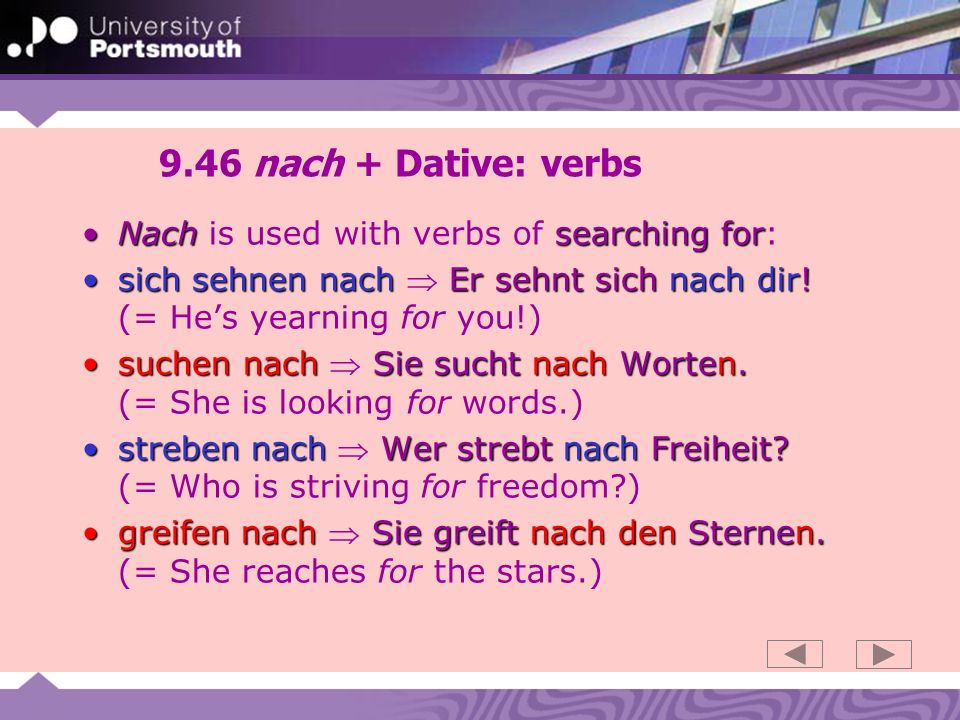 9.46 nach + Dative: verbs Nach is used with verbs of searching for: