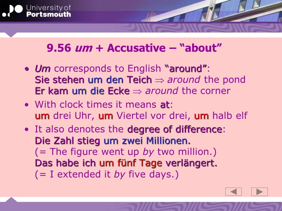 9.56 um + Accusative – about
