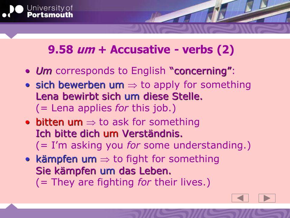 9.58 um + Accusative - verbs (2)