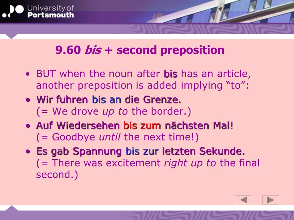 9.60 bis + second preposition