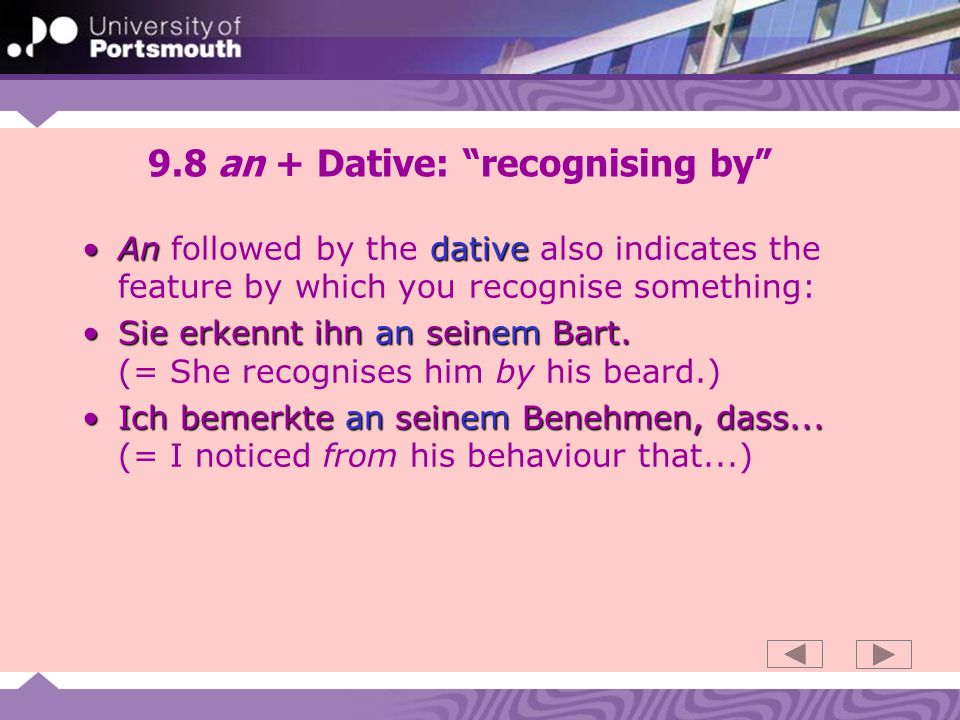 9.8 an + Dative: recognising by