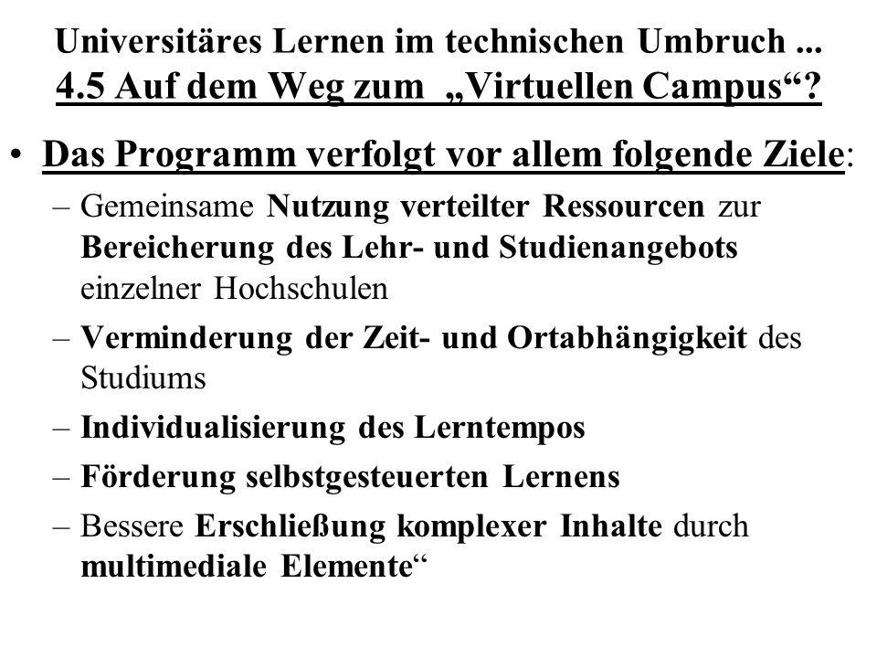 Das Programm verfolgt vor allem folgende Ziele: