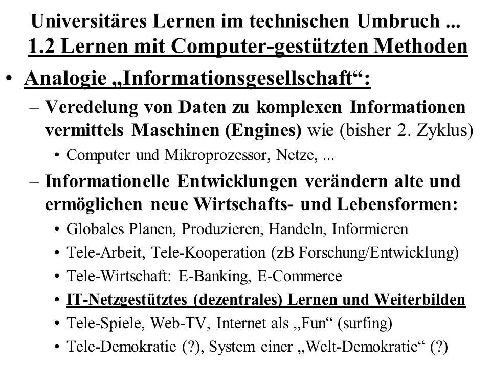 """Analogie """"Informationsgesellschaft :"""