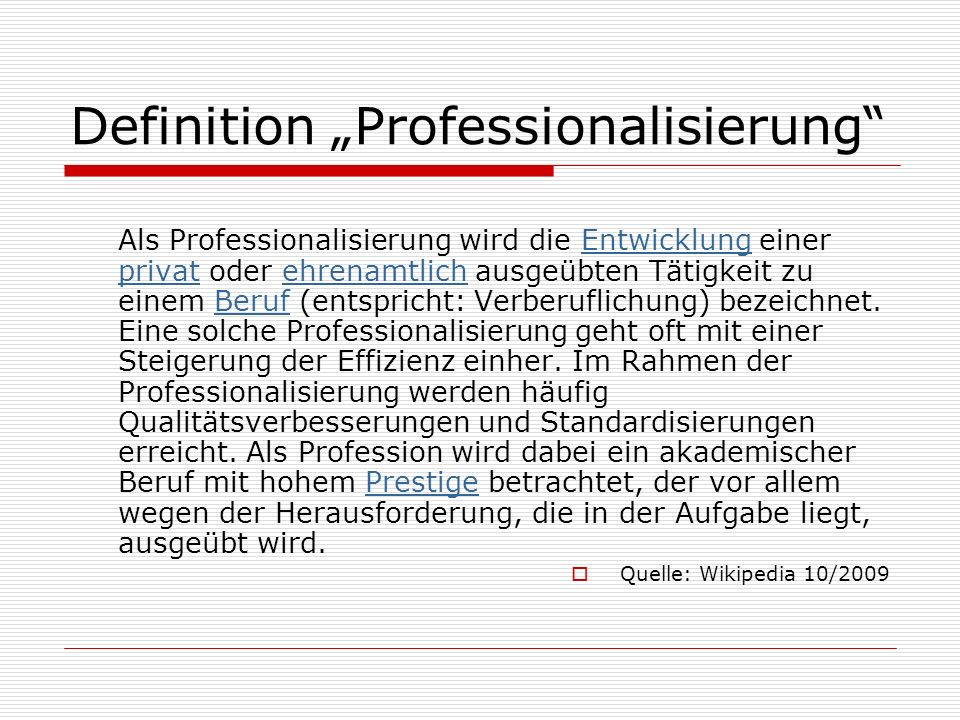 "Definition ""Professionalisierung"