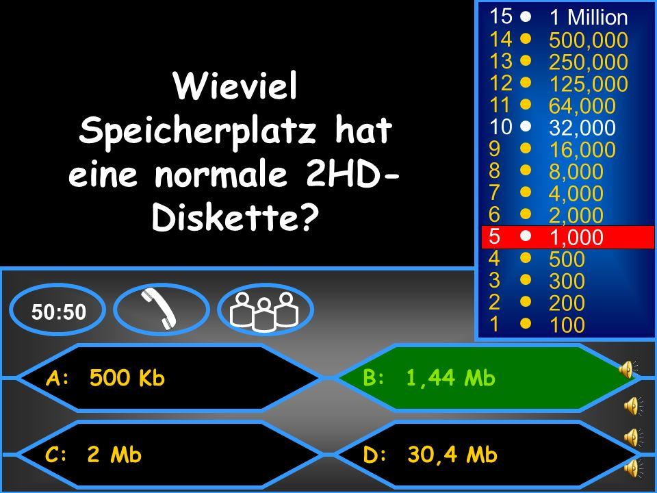 Wieviel Speicherplatz hat eine normale 2HD-Diskette