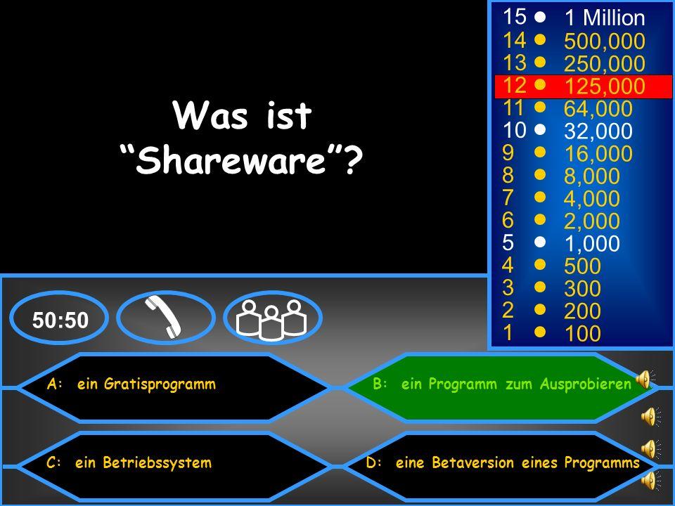 Was ist Shareware 15 1 Million 14 500,000 13 250,000 12 125,000 11