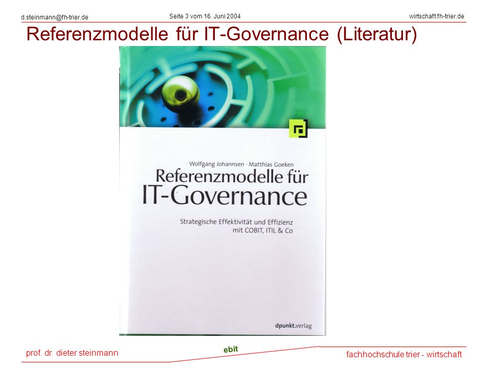 Referenzmodelle für IT-Governance (Literatur)