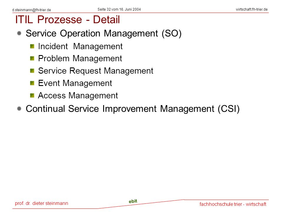 ITIL Prozesse - Detail Service Operation Management (SO)