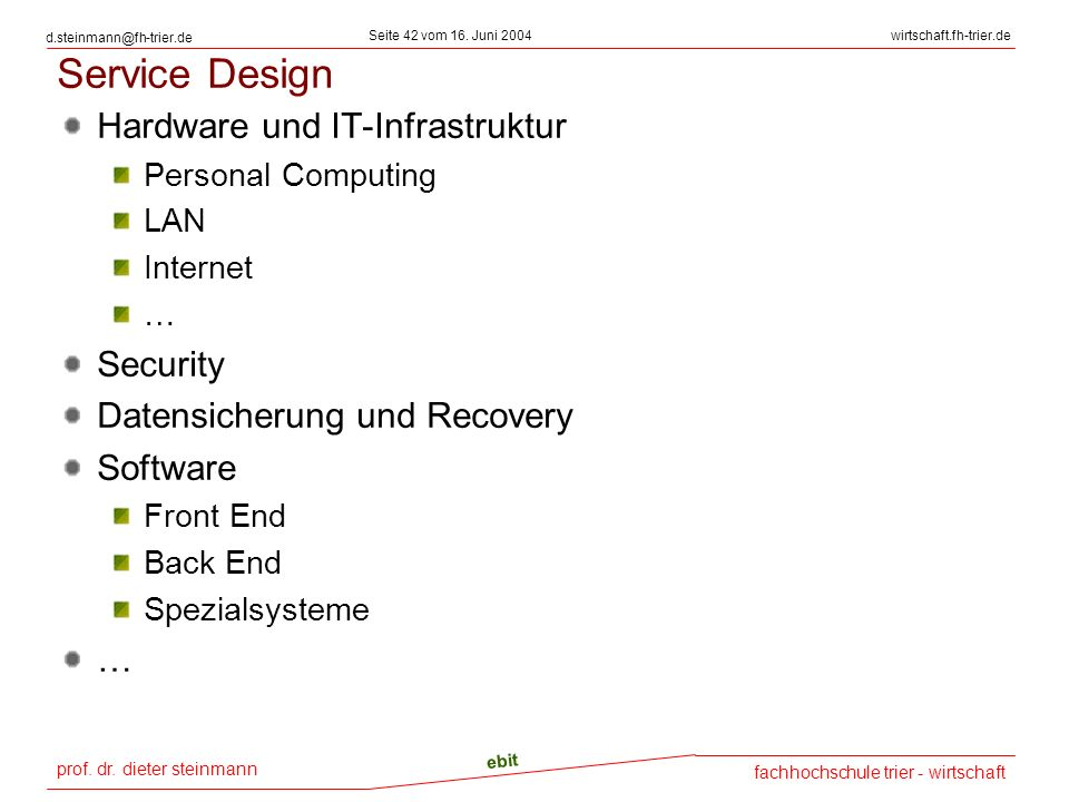 Service Design Hardware und IT-Infrastruktur Security