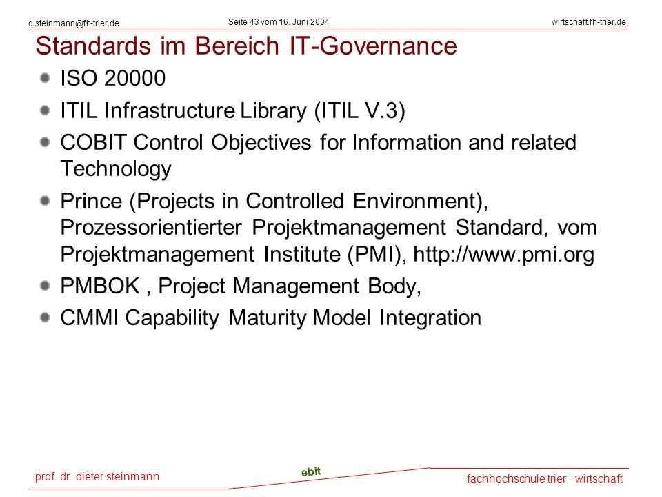 Standards im Bereich IT-Governance