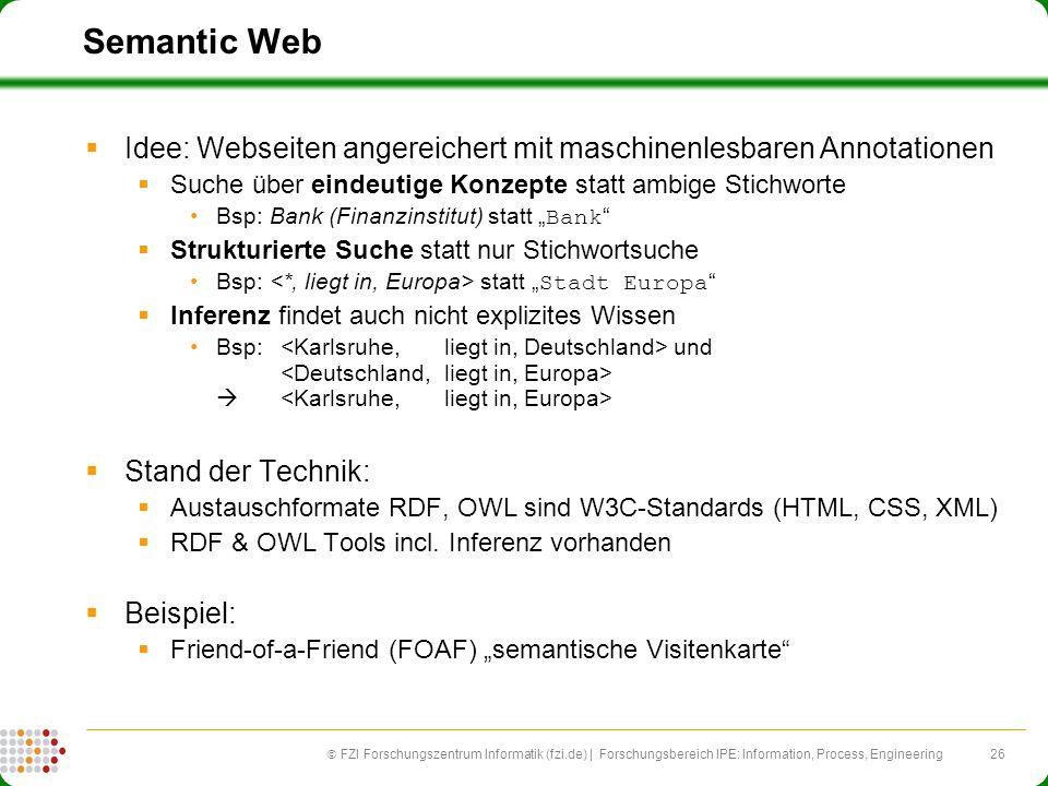 Semantic Web Idee: Webseiten angereichert mit maschinenlesbaren Annotationen. Suche über eindeutige Konzepte statt ambige Stichworte.