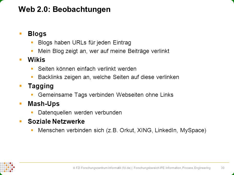 Web 2.0: Beobachtungen Blogs Wikis Tagging Mash-Ups Soziale Netzwerke