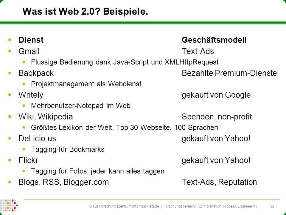 Was ist Web 2.0 Beispiele. Dienst Geschäftsmodell Gmail Text-Ads