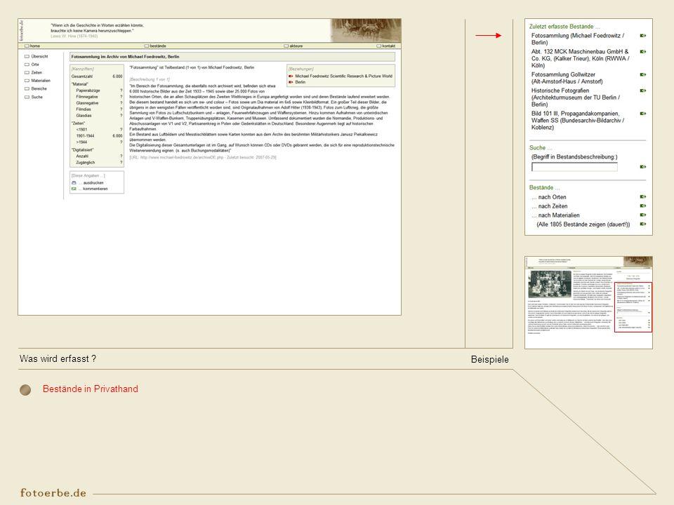 Was wird erfasst Beispiele Bestände in Privathand