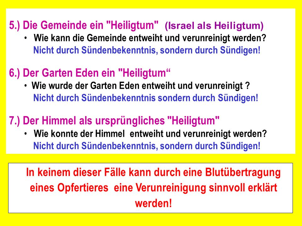5.) Die Gemeinde ein Heiligtum (Israel als Heiligtum)