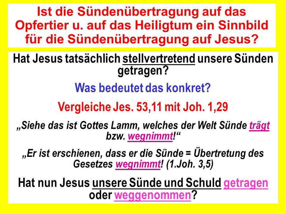 Hat Jesus tatsächlich stellvertretend unsere Sünden getragen