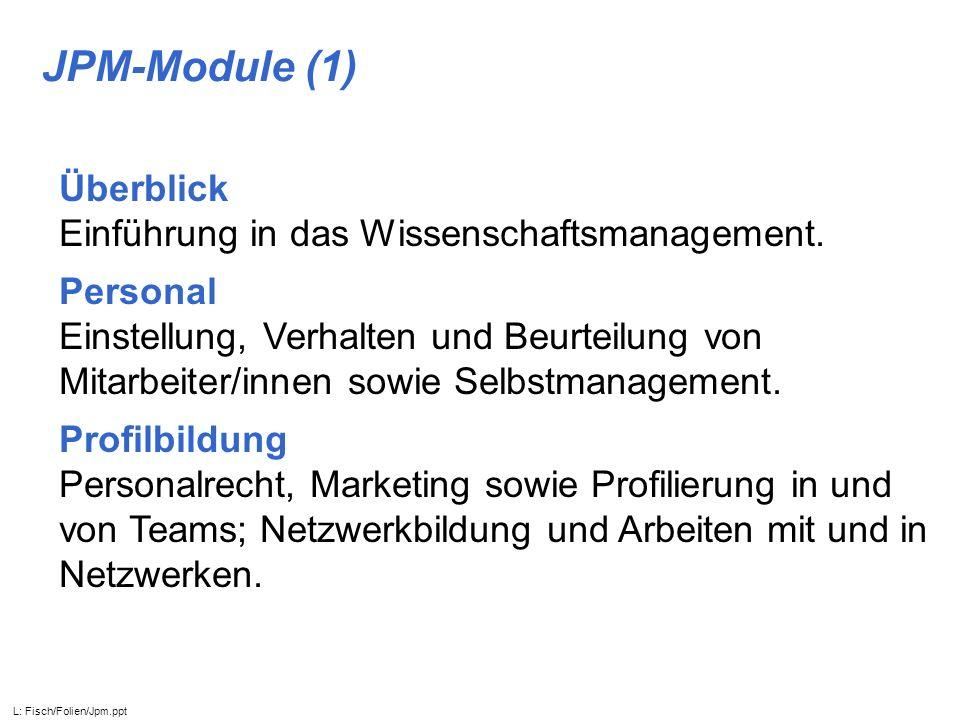 JPM-Module (1) Überblick Einführung in das Wissenschaftsmanagement.