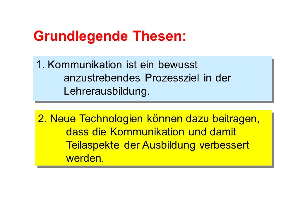 Grundlegende Thesen: 1. Kommunikation ist ein bewusst anzustrebendes Prozessziel in der Lehrerausbildung.