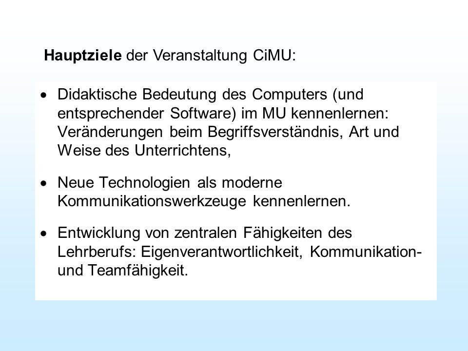 Hauptziele der Veranstaltung CiMU:
