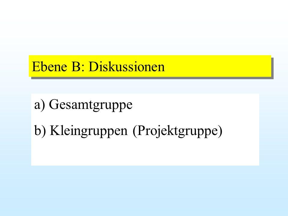 Ebene B: Diskussionen a) Gesamtgruppe b) Kleingruppen (Projektgruppe)